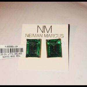 Kenneth Jay Lane green crystal statement earrings